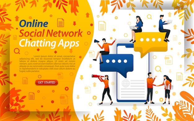 Illustration für online-chat-apps des sozialen netzwerks mit flachem charakter