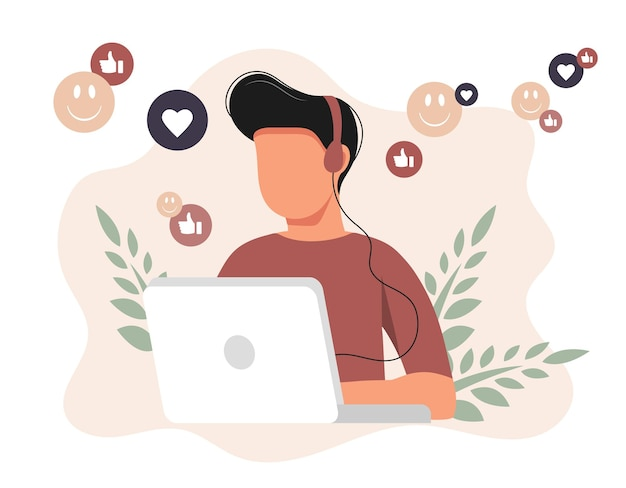 Illustration für soziale netzwerke. mann mit kopfhörern mit laptop