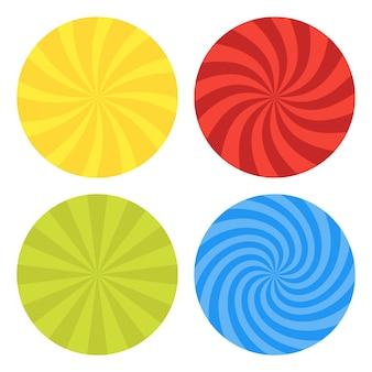 Illustration für wirbel. wirbelndes radiales musterhintergrundset. vortex starburst spiral twirl helix rotationsstrahlen. konvergierende psychedelisch skalierbare streifen. lustige sonnenlichtstrahlen.