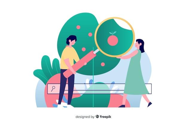 Illustration für zielseite mit suchkonzept