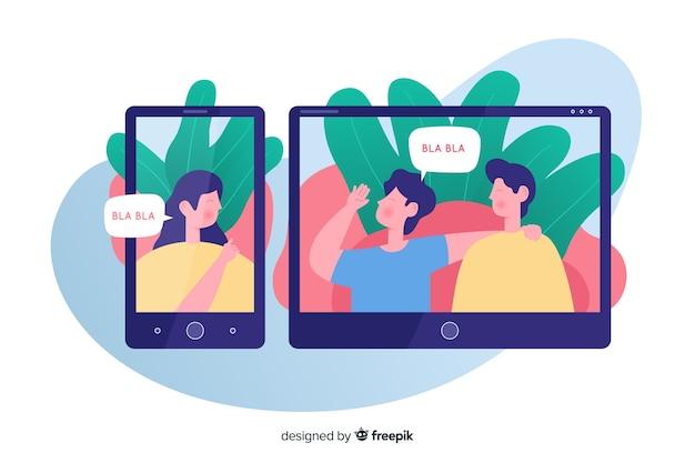 Illustration für zielseite mit videokonferenzkonzept