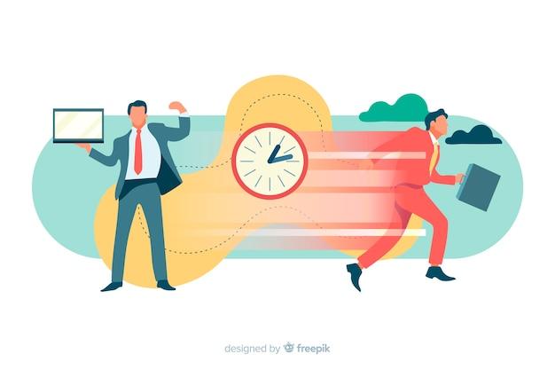 Illustration für zielseite mit zeitmanagementkonzept