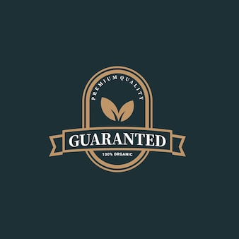 Illustration garantiert qualität blatt natur produkt abzeichen oder emblem premium-vektor 100 prozent