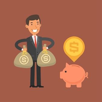 Illustration, geschäftsmann, der geld in sparschwein einlegt, format eps 10