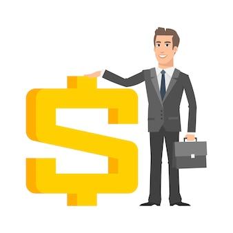 Illustration, geschäftsmann steht in der nähe mit dollarzeichen, format eps 10
