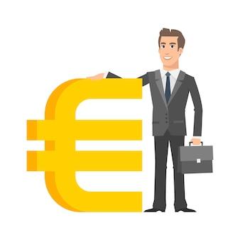 Illustration, geschäftsmann steht in der nähe mit eurozeichen, format eps 10