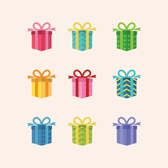 Illustration geschenkbox set bunt für überraschung hochzeit oder geburtstagsfeier zeichen design vektorgrafik