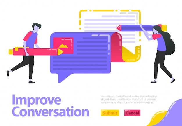 Illustration gespräch verbessern. leute, die meinungen schreiben, können sich im ballon unterhalten. meinungen und informationen verbessern und aktualisieren.