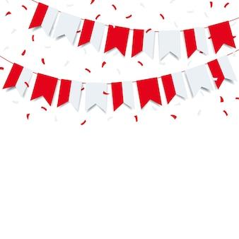 Illustration. girlande mit der flagge von polen auf einem weißen hintergrund