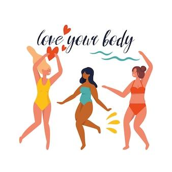 Illustration glücklich plus größe mädchen, die badeanzug in bewegung tragen. körper positiv.