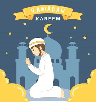 Illustration glückliche muslimische männer, die beten, ramadan premium zu feiern