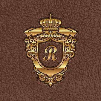Illustration - goldenes königliches wappen auf leder geprägt