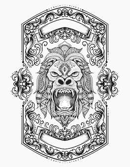Illustration gorillakopf mit gravurverzierung