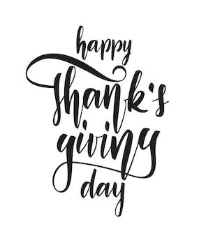 Illustration: hand gezeichnete elegante beschriftung von happy thanksgiving day isoliert