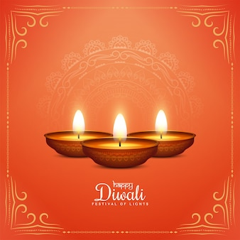 Illustration happy diwali festival stilvollen hintergrund mit lampen