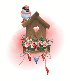Illustration haushaltsgegenstände vogelhaus, sitzender vogel und kleine feiertagsfahnen, die mit blumen verziert werden.