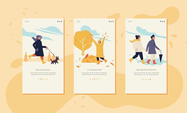 Illustration herbstkonzept für website oder mobile app seite auf dem bildschirm.