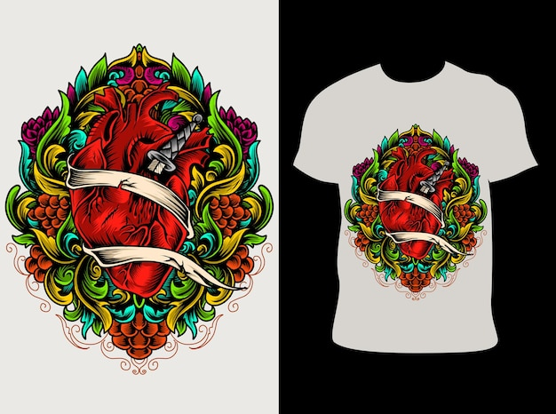 Illustration herzverzierung bunt mit t-shirt design