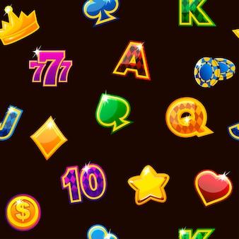 Illustration. hintergrund mit farbigen kasinosymbolen auf schwarzem, nahtlos sich wiederholendem muster.