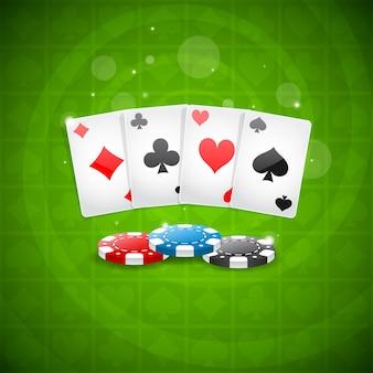 Illustration hintergrund spielkarten und chips, format eps 10