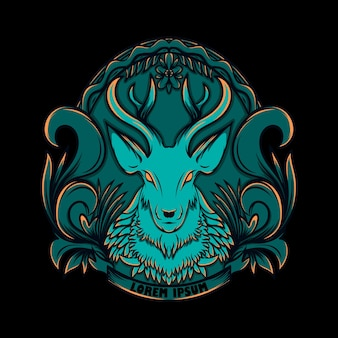 Illustration hirsch logo mit ornament stil Premium Vektoren