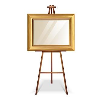 Illustration holz staffelei mit leeren leeren goldenen rahmen quadratische leinwand. auf weißem hintergrund isoliert.