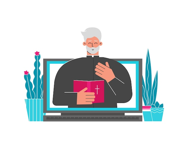 Illustration illustration. christlicher pastor. priester hält bibel, online-konferenz