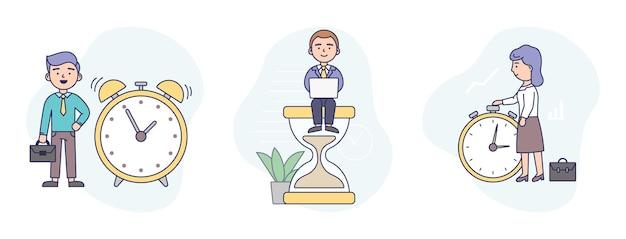 Illustration im flachen cartoon-stil der drei zeitmanagement-konzeptkünste