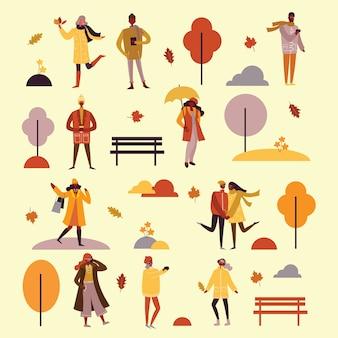 Illustration im flachen design des herbstsaisonhintergrundes mit leuten im freien