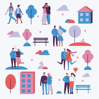 Illustration im flachen design von gruppenmenschen in liebe, paare, herzen im freien im park. grußkarte am valentinstag im modernen flachen design
