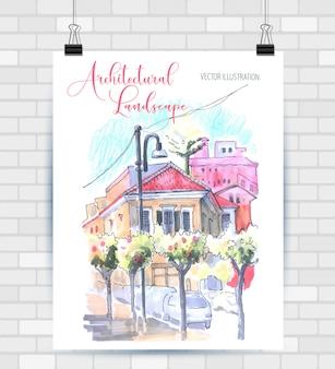 Illustration im format skizzieren. plakat mit schöner landschaft und städtischen elementen. hand gezeichnete illustration.