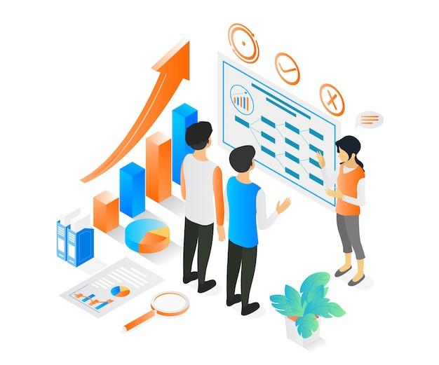 Illustration im isometrischen stil über eine frau, die ihrem team oder kunden eine geschäftspräsentation vorlegt