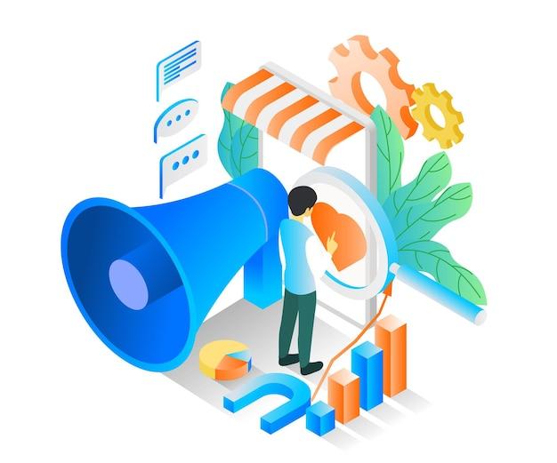Illustration im isometrischen stil über marketingstrategie mit trichter und charakter oder smartphone