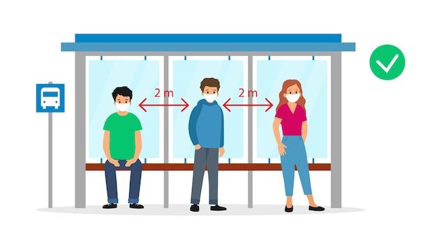 Illustration im karikatur-flachen stil auf weiß. leute, die an der bushaltestelle stehen warten