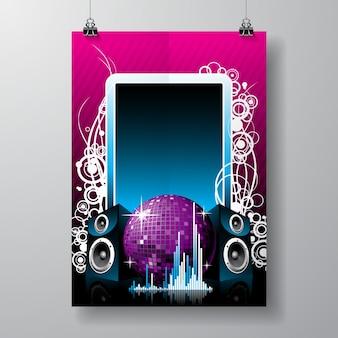 Illustration im musikalischen thema mit lautsprechern und discoball