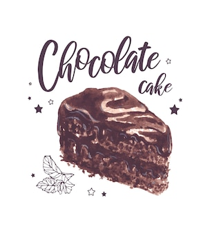 Illustration im vintage-stil des appetitlichen schokoladenkuchens mit schriftzug.
