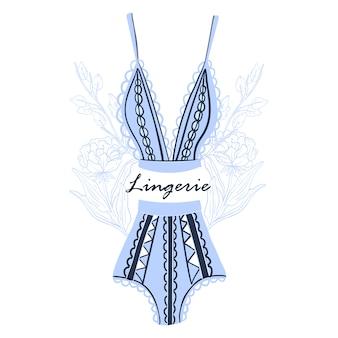 Illustration in blauen farben mit dessous und eleganten blumen isoliert