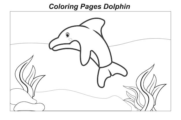Illustration in einem cartoon malvorlagen meereswildtiere ittle niedliches baby-delfin unter wasser