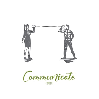 Illustration in hand gezeichnet kommunizieren