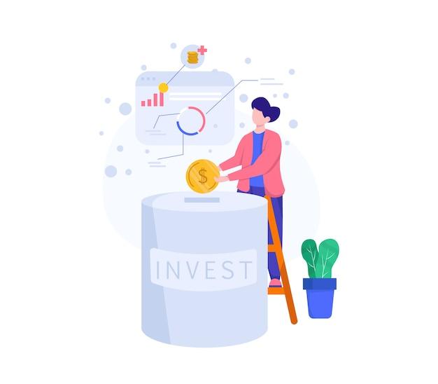 Illustration investieren. leute investieren. leute sparen