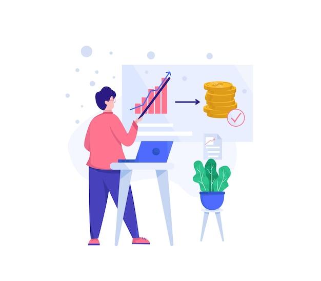 Illustration investieren. leute präsentieren über investitionen