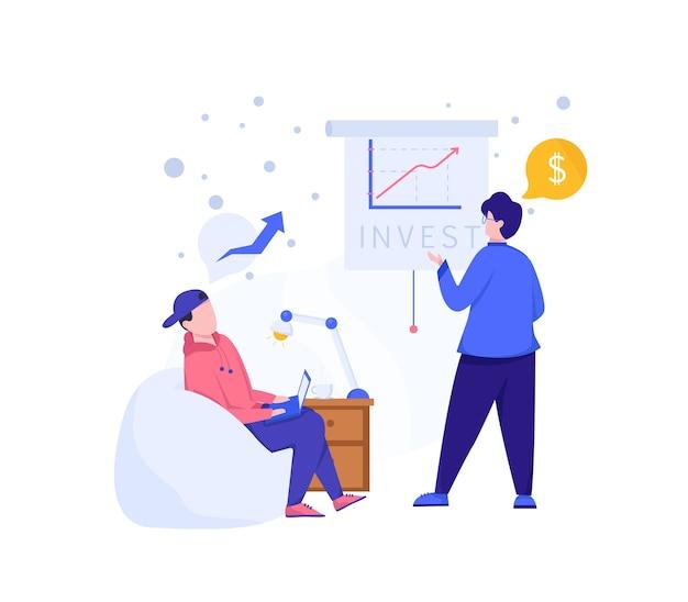 Illustration investieren. zwei leute erklären über das investieren. menschen, die gemeinsam an investitionen arbeiten