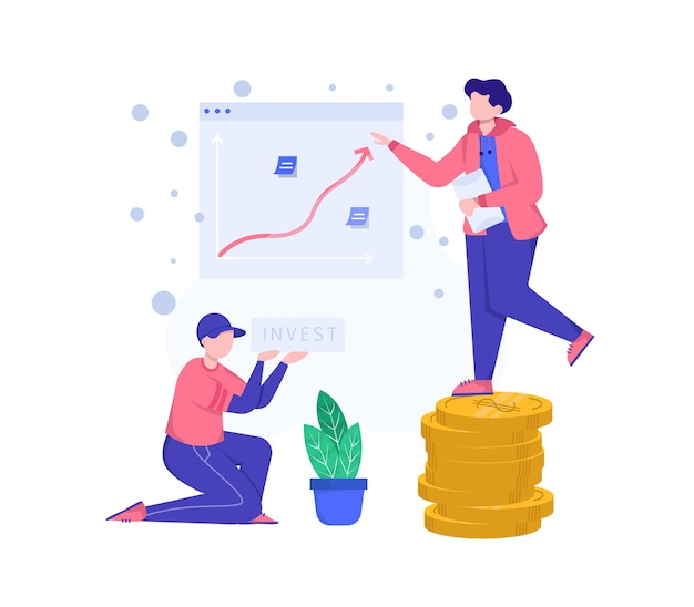 Illustration investieren. zwei personen präsentieren über investitionen
