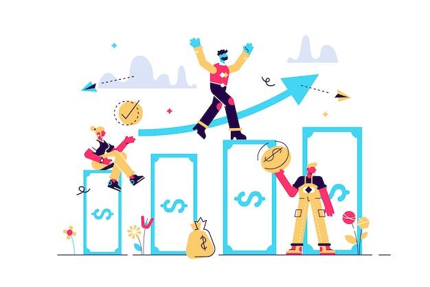 Illustration, investment management, ist das unternehmen in der gemeinsamen konstruktion beschäftigt