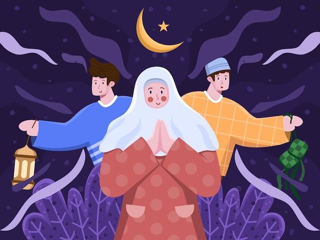 Illustration islamischer menschen, die glückliches eid al mubarak oder eid al fitr grüßen