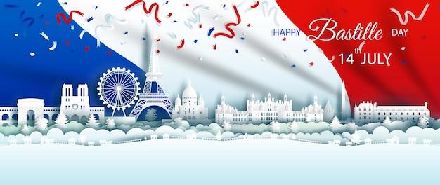 Illustration jubiläumsfeier glücklicher unabhängigkeitstag frankreich