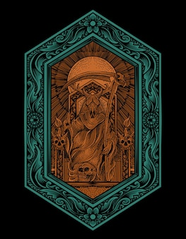 Illustration könig satan mit gravur ornament stil