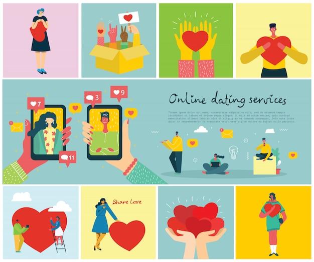 Illustration konzept flaches design von online-dating-diensten hintergrund im flachen design