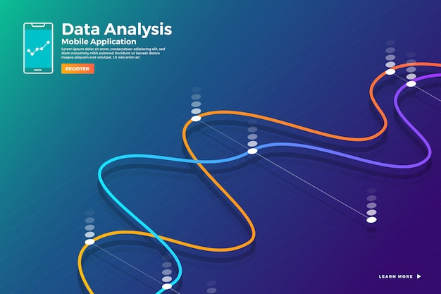 Illustration konzept isometrische datenanalyse und bericht statisch mit grafik und diagrammgrafik. vorlage für website-vorlagenbanner. veranschaulichen.