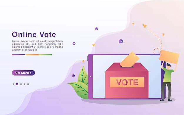Illustration konzept online-abstimmung und wahl, e-voting-internet-system, menschen geben online-abstimmung und papierstimme in die wahlurne
